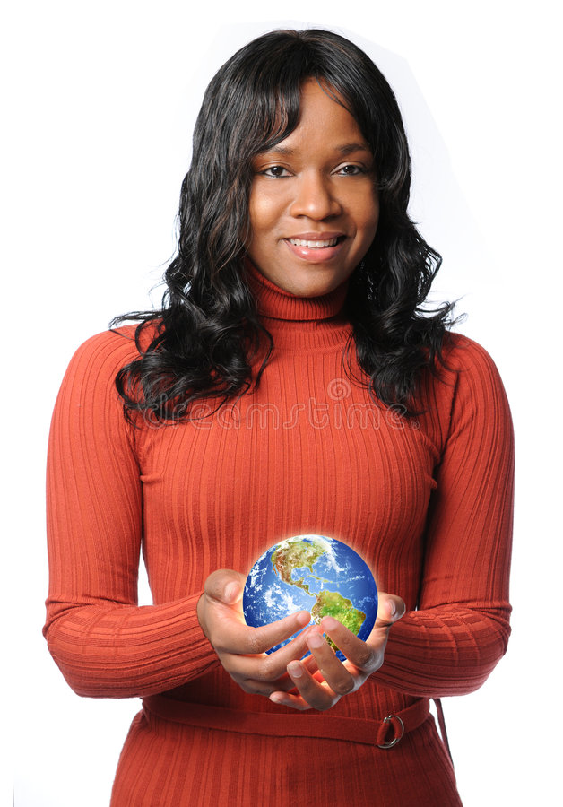 Frauen-Holding-glühende Erde lizenzfreies stockfoto