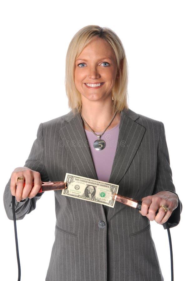 Download Frauen-HoldingDollarschein Mit Überbrücker-Seilzügen Stockbild - Bild von auslöseimpuls, wirtschaftlichkeit: 9089171