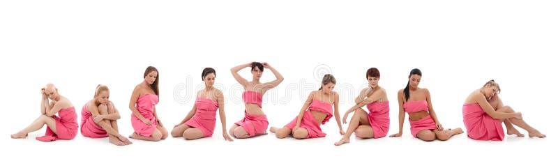 Frauen im Rosa - Brustkrebs Awereness lizenzfreies stockbild