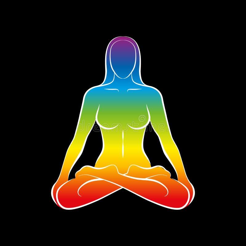 Frauen-Körper-Seelen-Regenbogen-Schwarzes stock abbildung