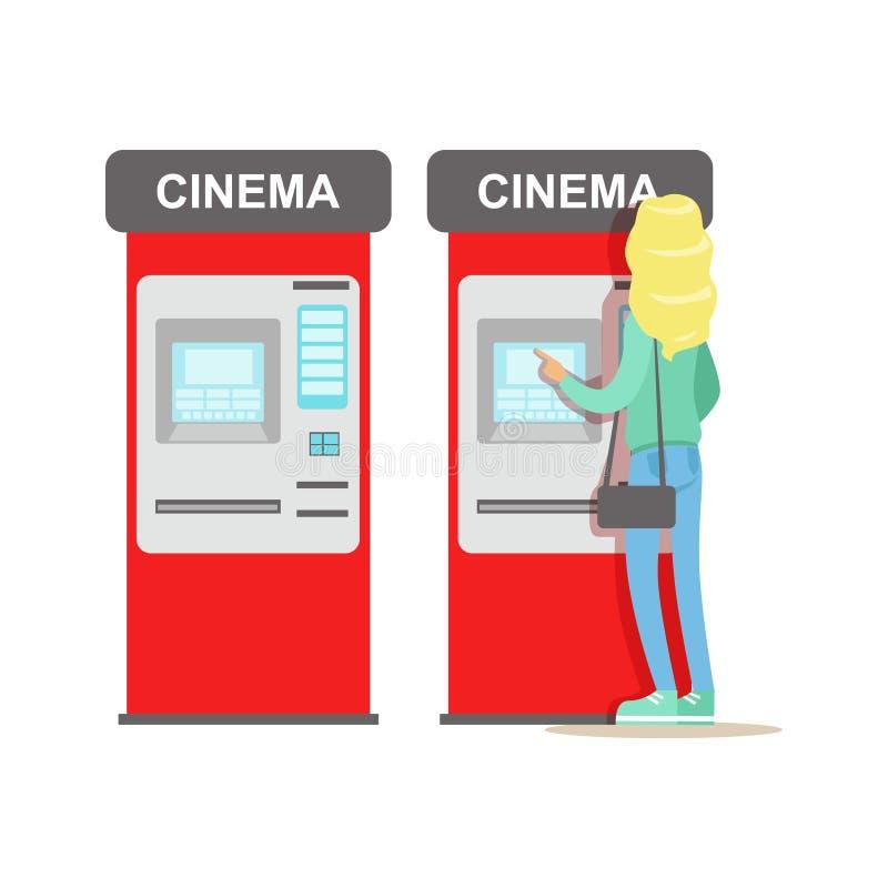 Frauen-kaufende Karten im Kino-automatischen Automaten, Teil glückliche Menschen in den Film-Theater-Reihen lizenzfreie abbildung