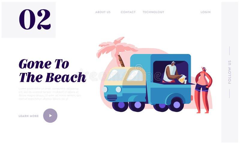 Frauen-kaufender Saft auf Stadt-Strand bei Lorry Booth stock abbildung
