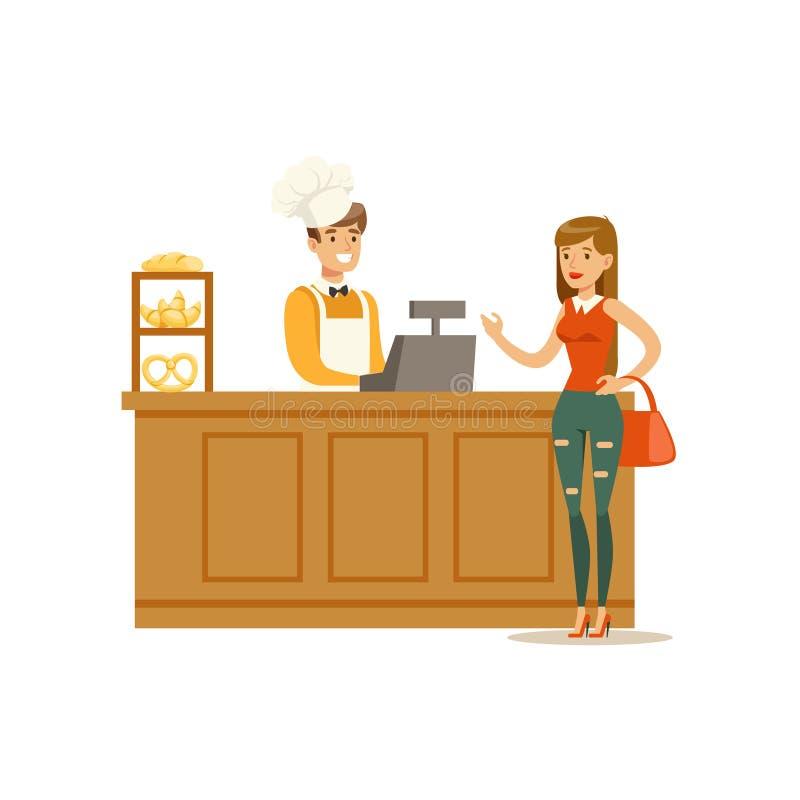 Frauen-kaufendes Gebäck vom Bäcker-In The Bakery-Shop, der an der Gegenvektor-Illustration bestellt lizenzfreie abbildung