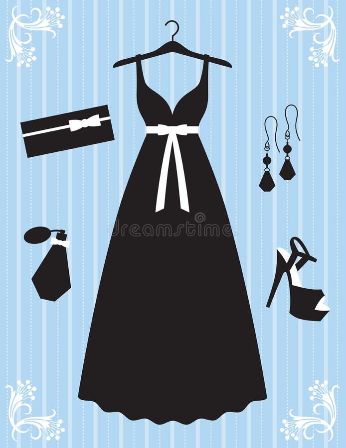 Frauen-Kleid und Zubehör vektor abbildung