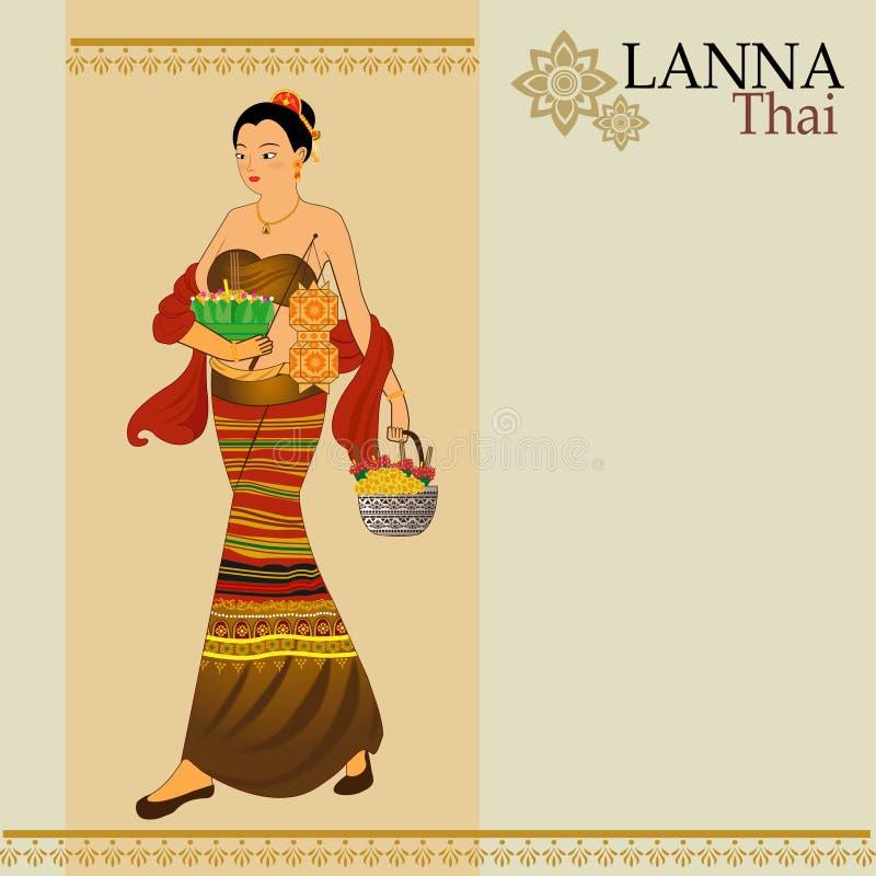 Frauen kleiden thailändisches Lanna stockfoto