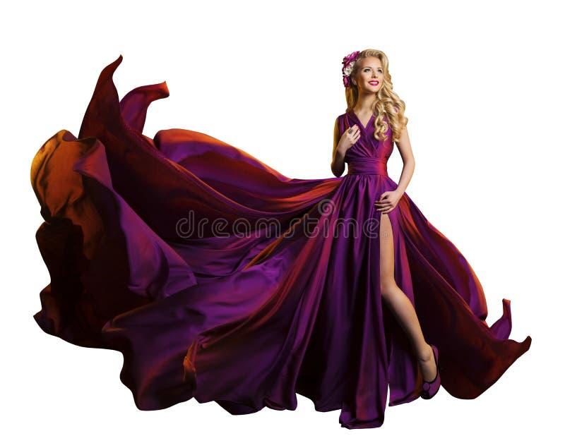 Frauen-Kleiderfliegen-Gewebe, schönes Mode-Modell Purple Gown lizenzfreie stockbilder