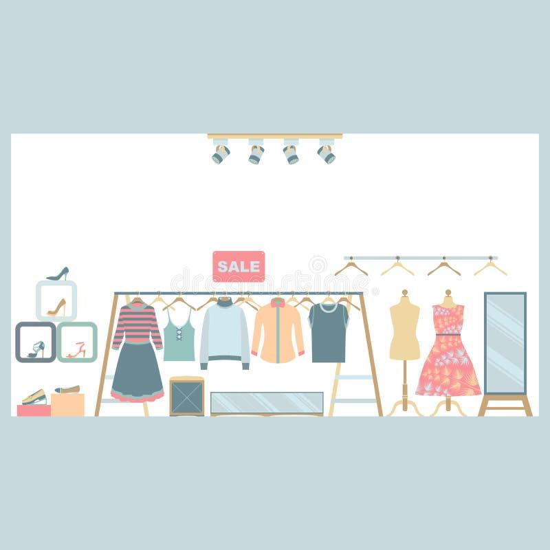 Frauen-Kleidung und Schuhgeschäft stock abbildung