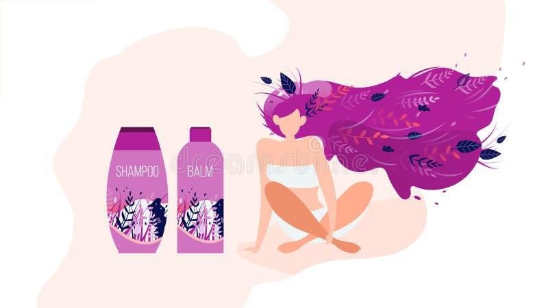 Frauen-Kosmetik-Produkt-Anzeigen-flache Vektor-Fahne stock abbildung