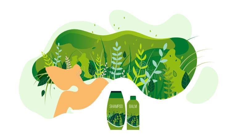 Frauen-Kosmetik-Produkt-flache Vektor-Anzeigen-Fahne lizenzfreie abbildung