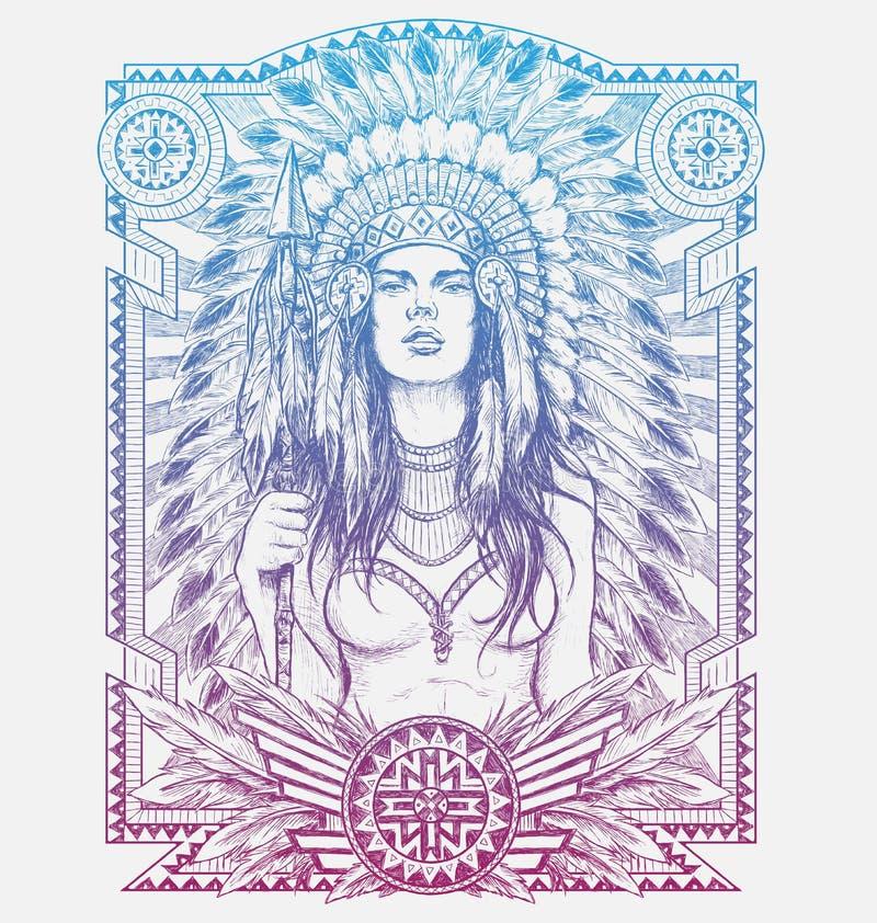 Frauen-Krieger des amerikanischen Ureinwohners mit Stammes- Rahmen Vektor-Illustration für T-Shirts stock abbildung