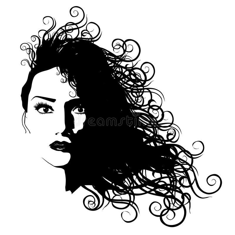 Frauen-lange Haar-Schwarz-umreiß lizenzfreie abbildung