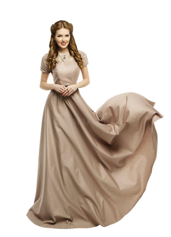 Frauen-langes Kleid, Mode-Modell in historisches Fliegen-wellenartig bewegendem Kleid lizenzfreie stockbilder