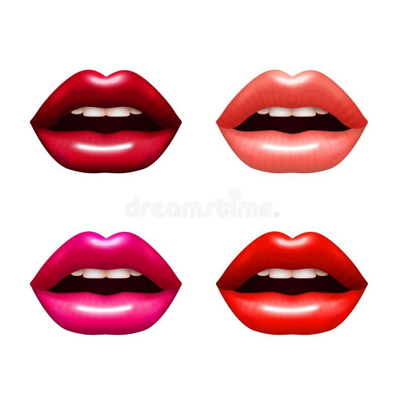 Frauen-Lippen eingestellt stock abbildung