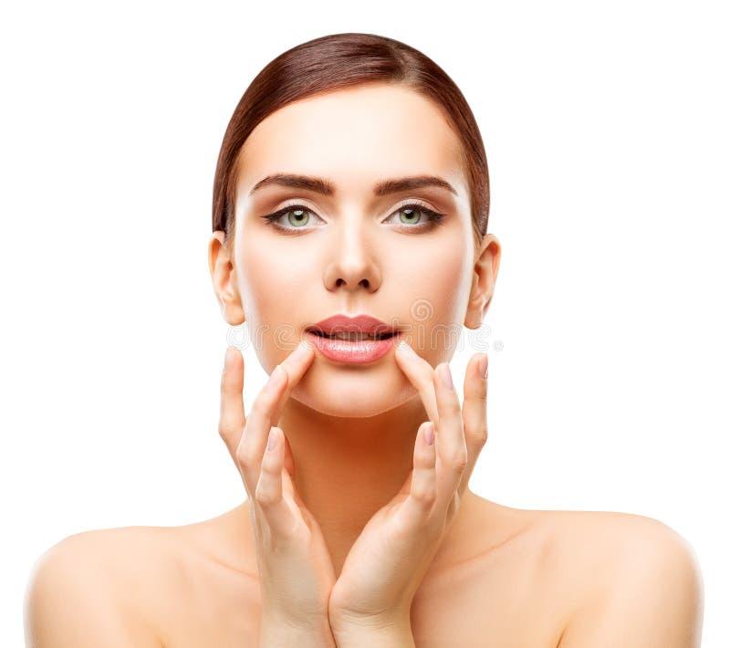 Frauen-Lippenschönheit, Gesichts-Sorgfalt-natürliches Make-up, Mädchen-rührender Mund stockfoto
