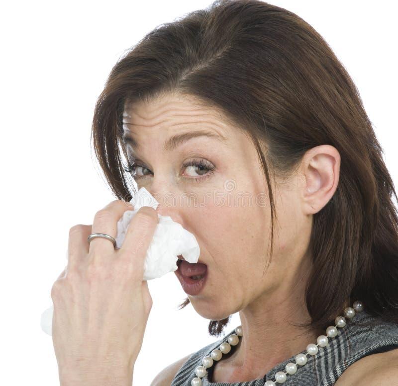 Frauen mit Allergien stockbilder