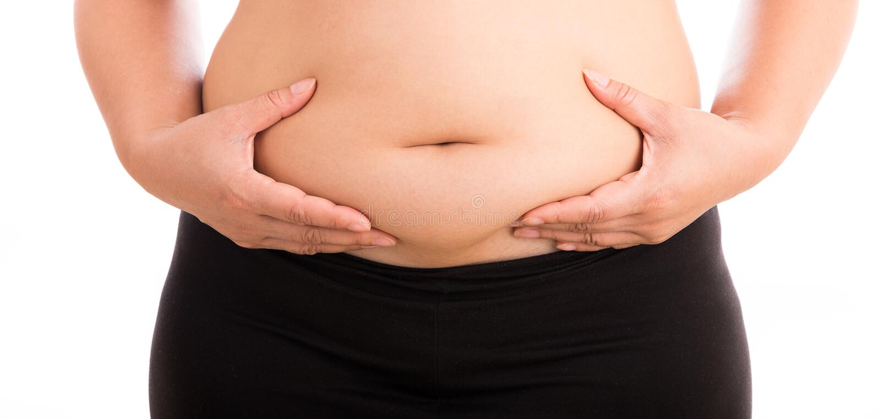 Frauen mit dem fetten Bauch auf weißem Hintergrund lizenzfreies stockbild