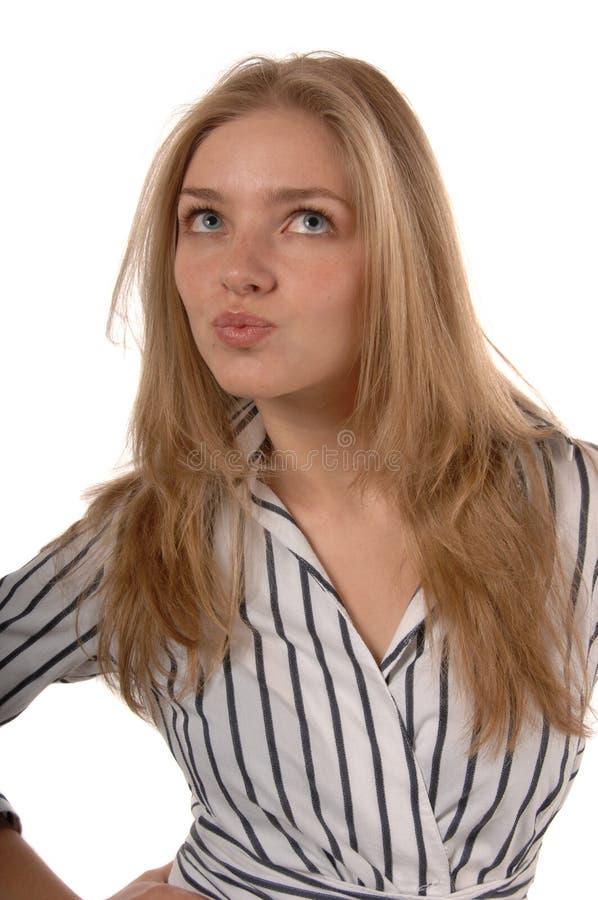 Frauen mit den geschürzten Lippen stockfotos