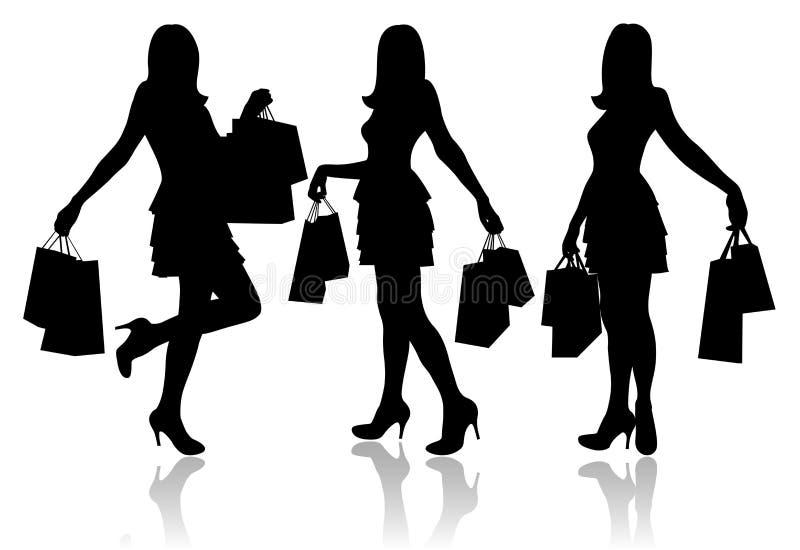 Frauen mit Einkaufenbeuteln lizenzfreie abbildung