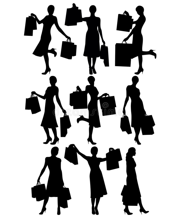 Frauen mit Einkaufenbeuteln vektor abbildung