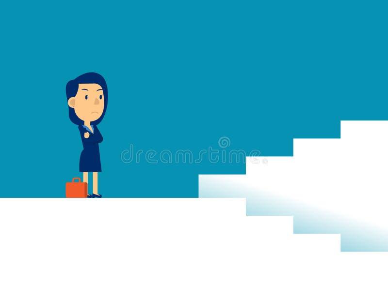 Frauen mit Entscheidungen Konzepte für die Darstellung von Geschäftsrichtungen, Strategie, flacher Kid-Business-Cartoon lizenzfreie abbildung