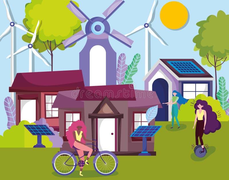 Frauen mit Fahrradmonocycle Solar-Panel-Turbine Windenergie beherbergt Landökologie lizenzfreie abbildung