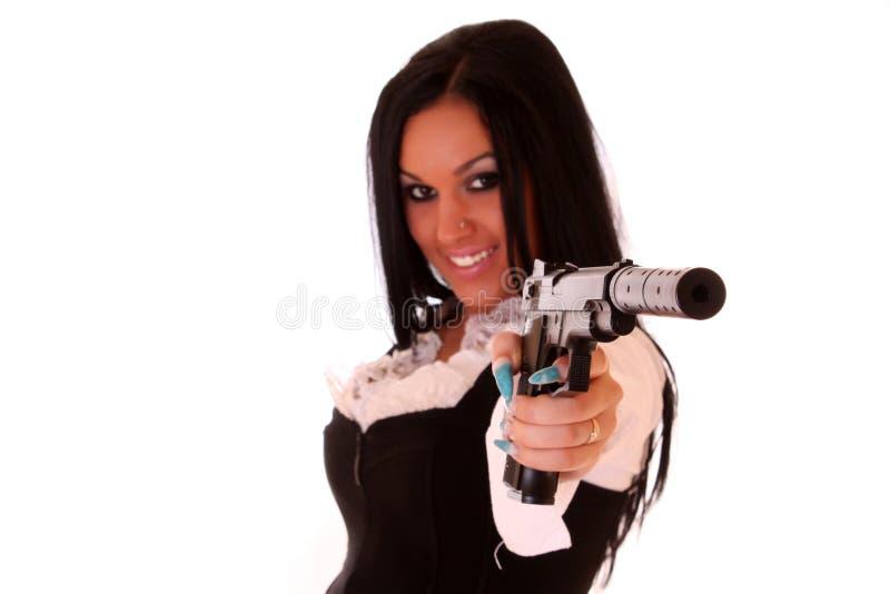 Frauen mit Gewehr stockbilder