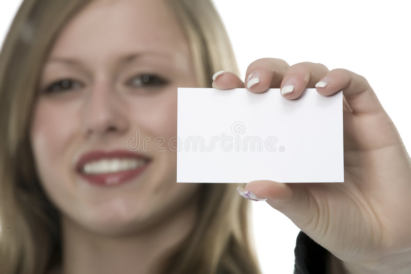 Frauen mit Visitenkarte in der Hand stockbild