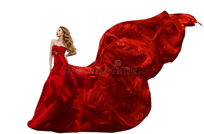 Frauen-Mode-rotes Kleid, Kleid, das auf Wind, fliegendes Seidengewebe wellenartig bewegt stockbild
