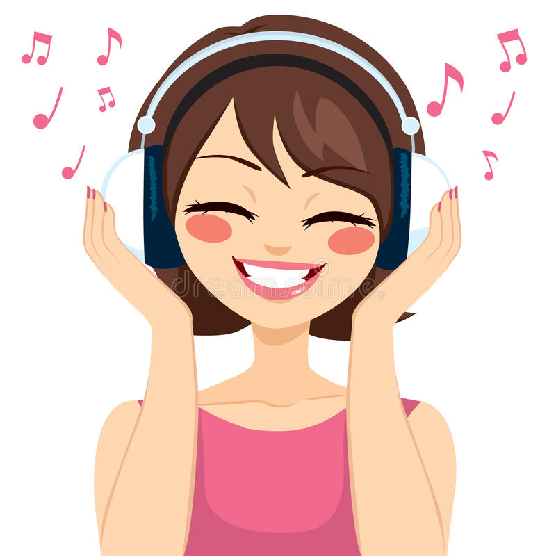 Frauen-Musik-Kopfhörer stock abbildung