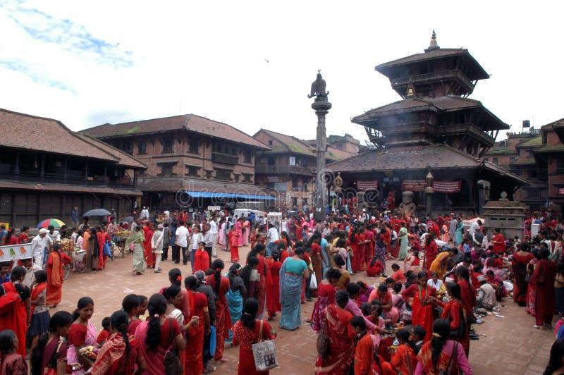 Frauen Nepals Bhaktapur Nepalese stockbild