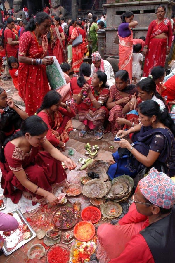 Frauen Nepals Bhaktapur Nepalese lizenzfreies stockfoto