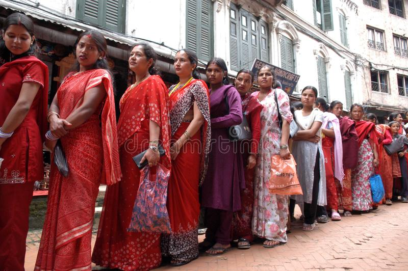 Frauen Nepals Bhaktapur Nepalese stockbilder