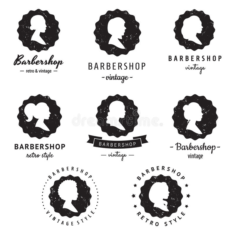 Frauen profiliert Logoausweisweinlese-Vektorsatz des Schattenbildfriseursalons (Friseursalon) Hippie und Retrostil stock abbildung