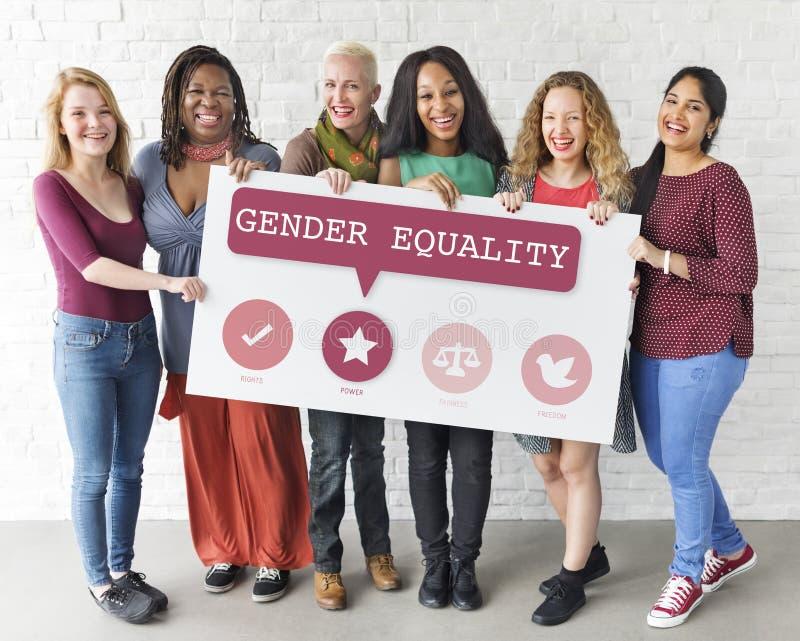 Frauen-Recht-Gleichheits-Gelegenheits-Gerechtigkeits-Feminismus-Konzept stockbild
