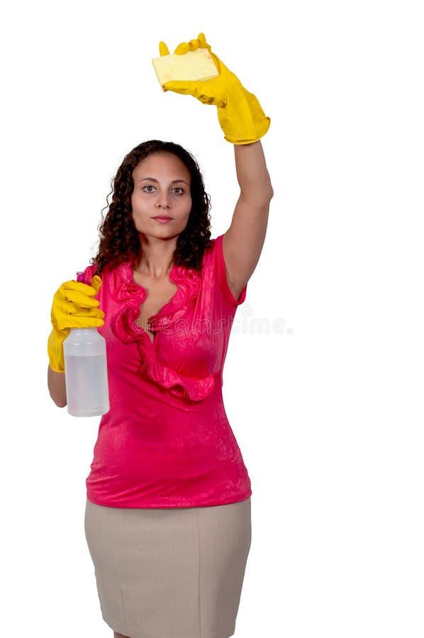 Frauen-Reinigungs-Haus stockbild