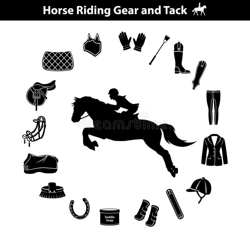 Frauen-Reitpferdeschattenbild Reitersport-Ausrüstungs-Ikonen eingestellt Gang- und Reißnagelzubehör stock abbildung