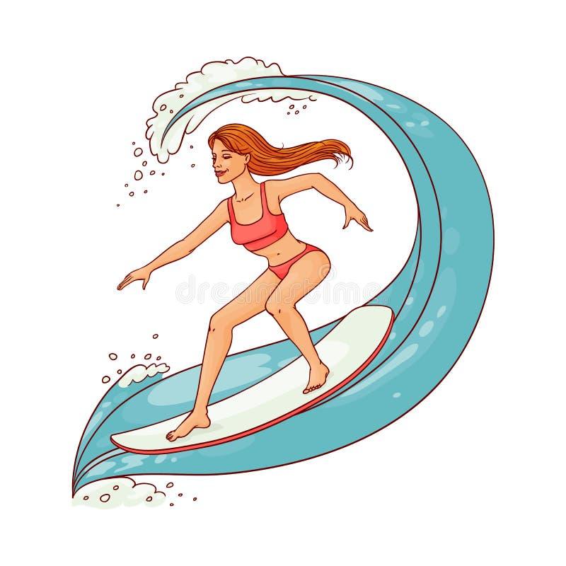 Frauen-Reitwelle des Vektors nette auf Surfbrett stock abbildung