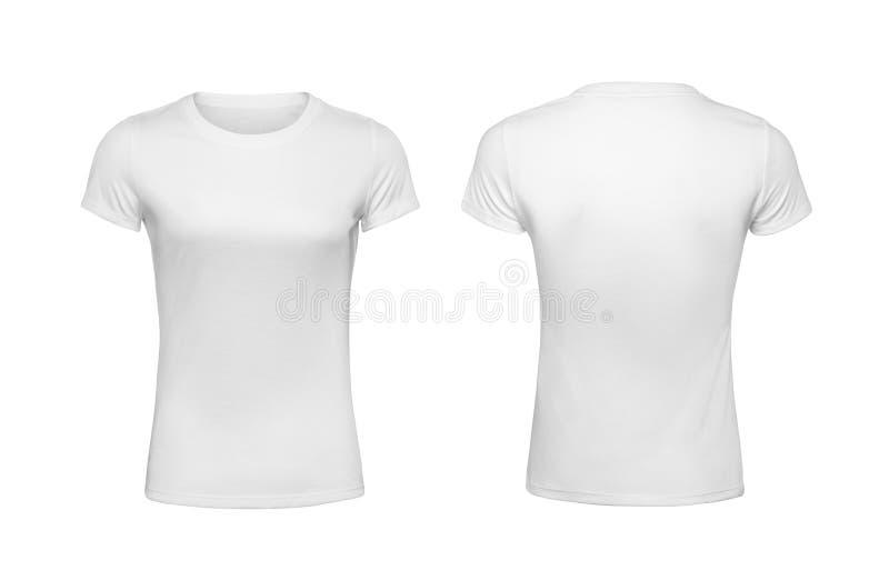 Frauen ` s die Hemd-Designschablonen ziehen sich und Vorderansicht lokalisiert auf Weiß zurück lizenzfreie stockfotos