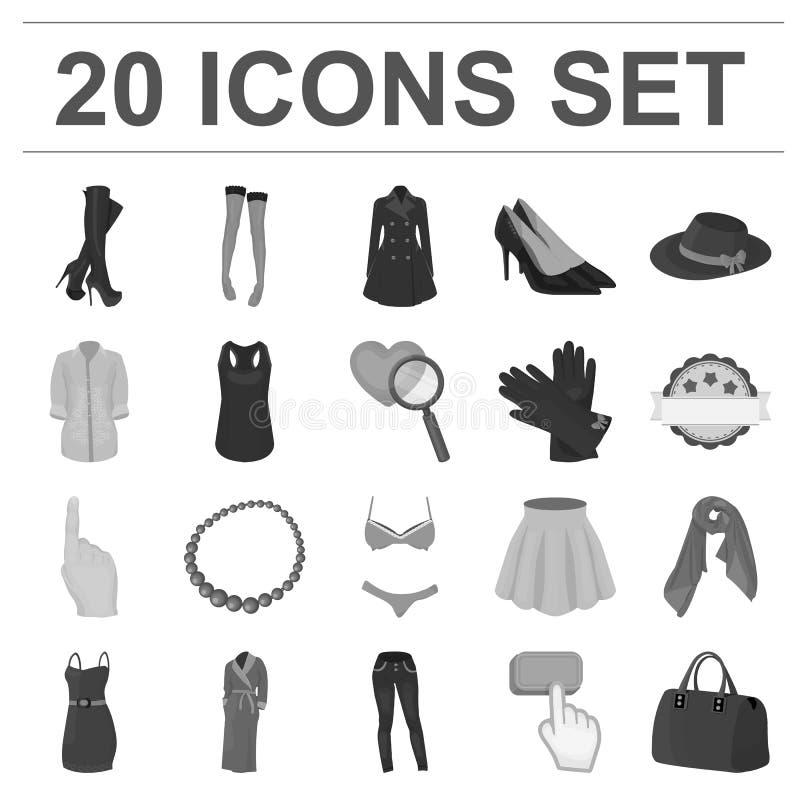 Frauen ` s einfarbige Ikonen Kleidungs in der Satzsammlung für Design Kleidungs-Vielzahl- und Zubehörvektorsymbolvorrat stock abbildung