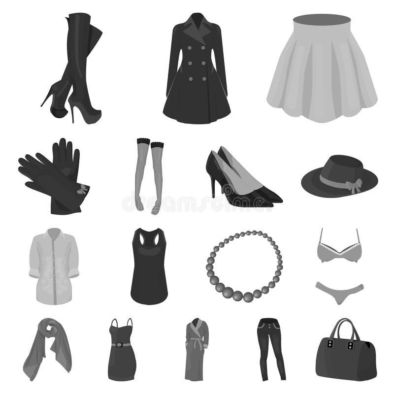 Frauen ` s einfarbige Ikonen Kleidungs in der Satzsammlung für Design Kleidungs-Vielzahl- und Zubehörvektorsymbolvorrat lizenzfreie abbildung