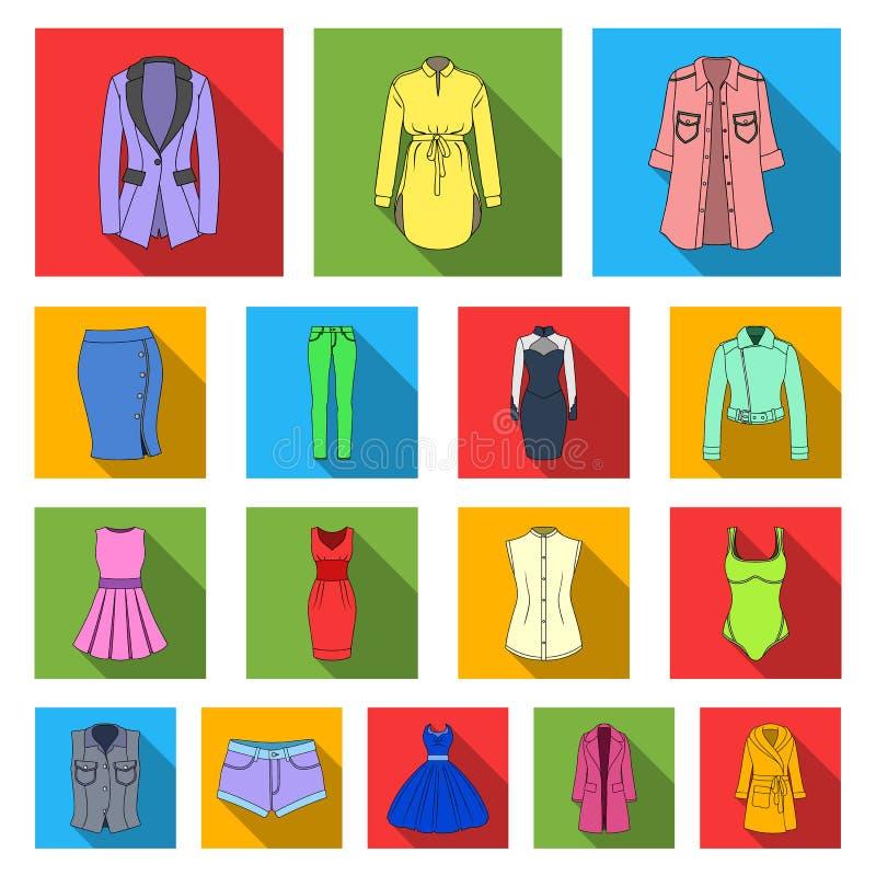Frauen ` s flache Ikonen Kleidungs in der Satzsammlung für Design Kleidungs-Vielzahl und Zubehör vector Netz des Symbols auf Lage lizenzfreie abbildung