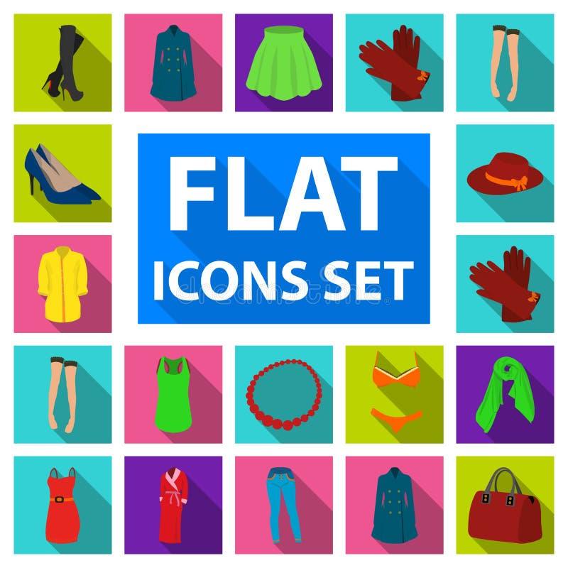 Frauen ` s flache Ikonen Kleidungs in der Satzsammlung für Design Kleidungs-Vielzahl und Zubehör vector Netz des Symbols auf Lage stock abbildung