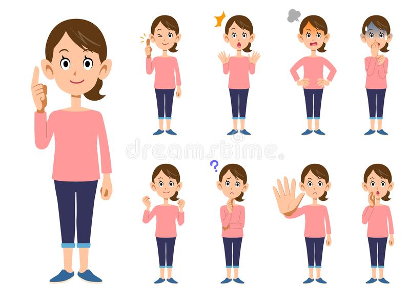 9 Frauen ` s gestikuliert und Ausdrücke _ganzer Körper lizenzfreie abbildung