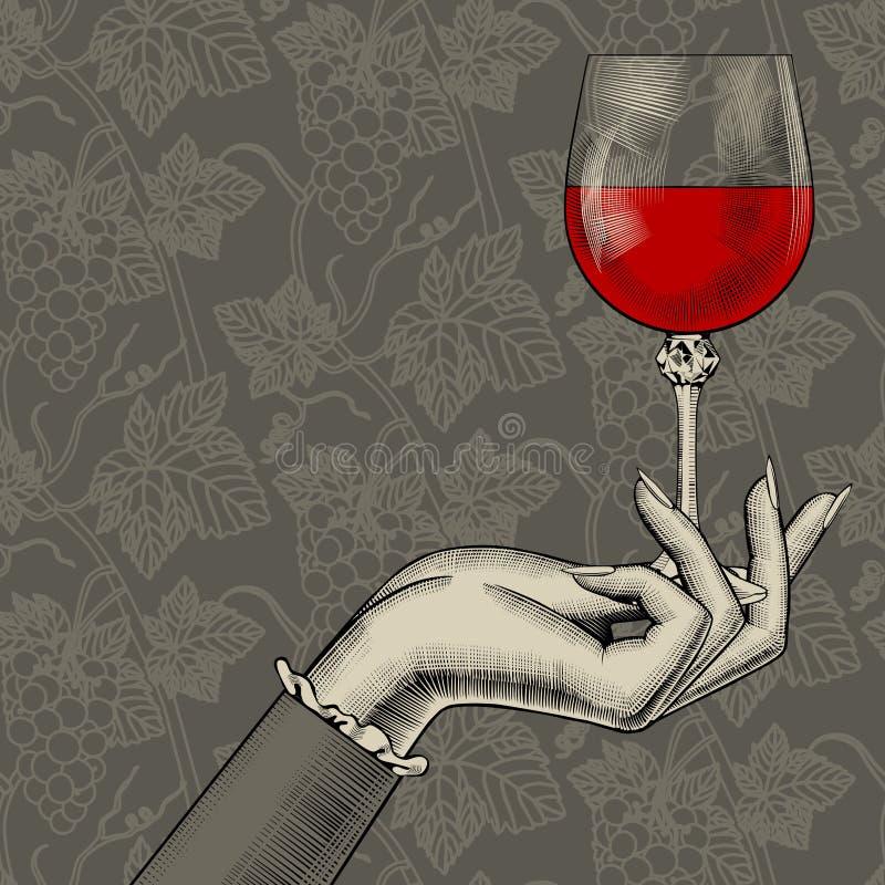 Frauen ` s Hand mit einem Weinglas auf nahtlosem backgr Muster der Trauben vektor abbildung