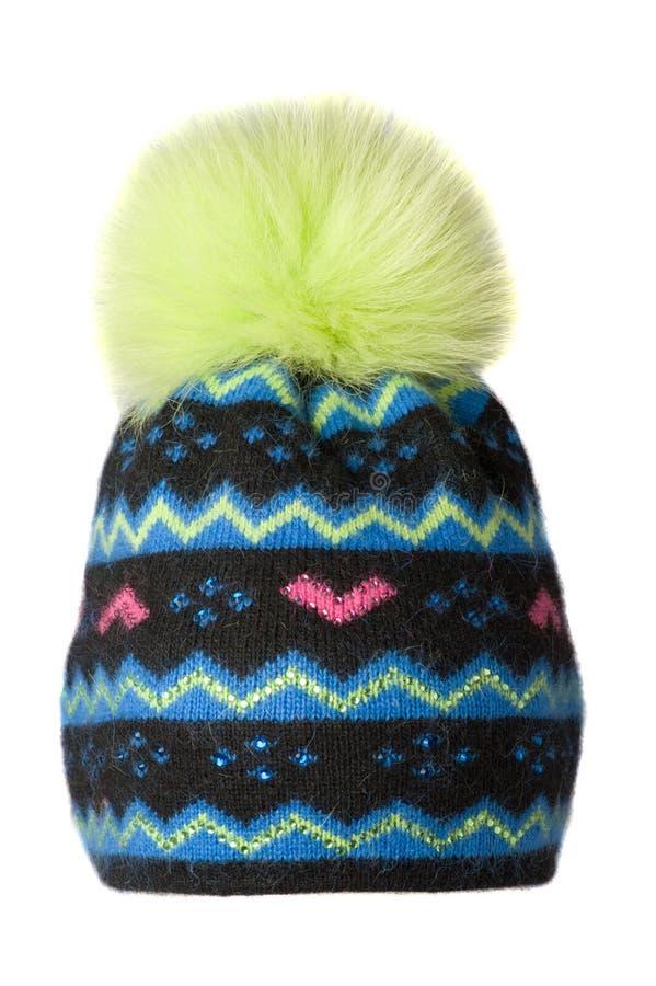 Frauen ` s Hut Strickmütze lokalisiert auf weißem Hintergrund gefärbt stockfoto