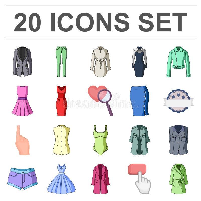 Frauen ` s Kleidungs-Karikaturikonen in der Satzsammlung für Design Kleidungs-Vielzahl und Zubehör vector Netz des Symbols auf La stock abbildung