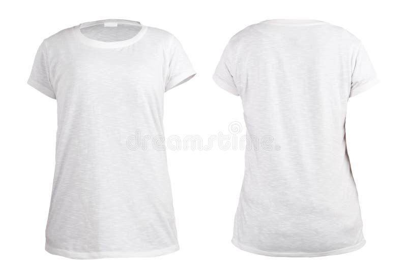 Frauen ` s leeres weißes T-Shirt, Front und Rückseite entwerfen Schablone lizenzfreies stockfoto