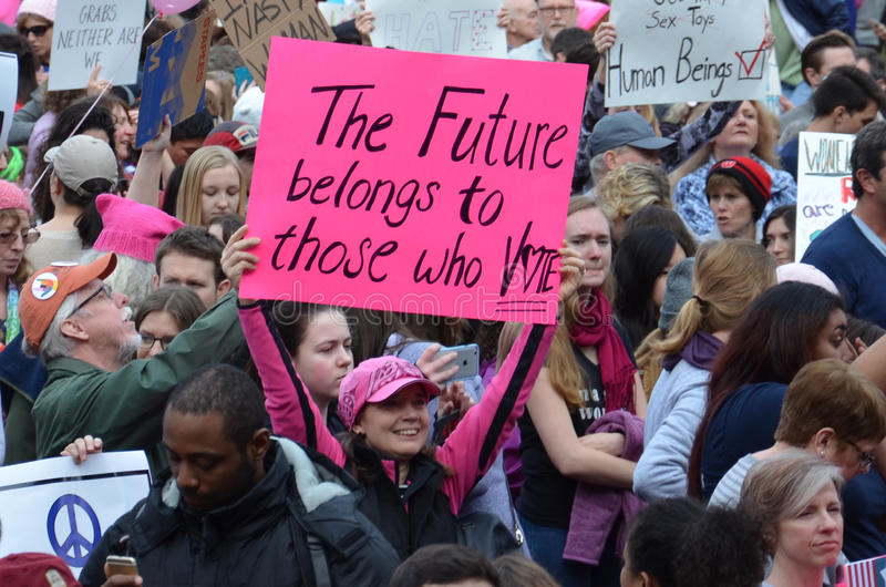 Frauen ` s März Ann Arbor 2017 stockfotos