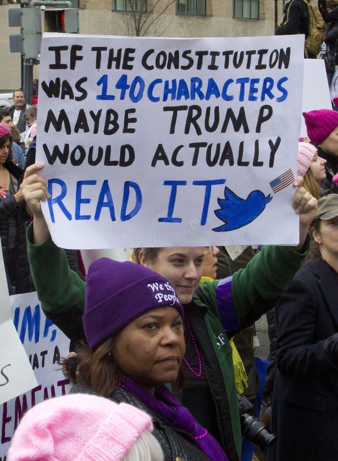 Frauen ` s März auf Washington lizenzfreie stockfotos