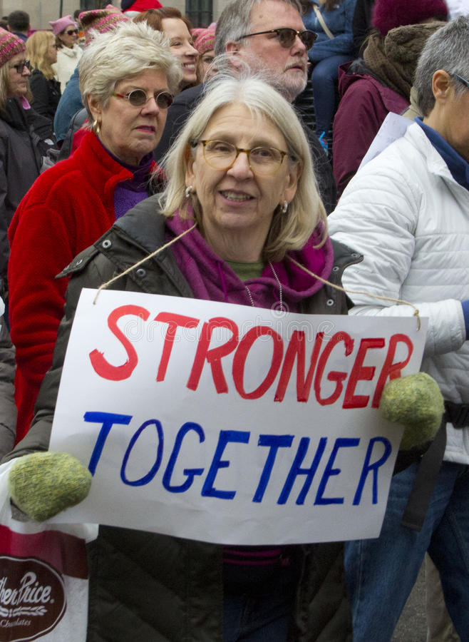 Frauen ` s März auf Washington stockbild
